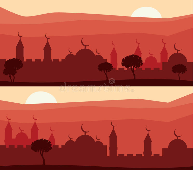 Horizontal abstract banners of arab city with palm trees at sunset. royalty free illustration
