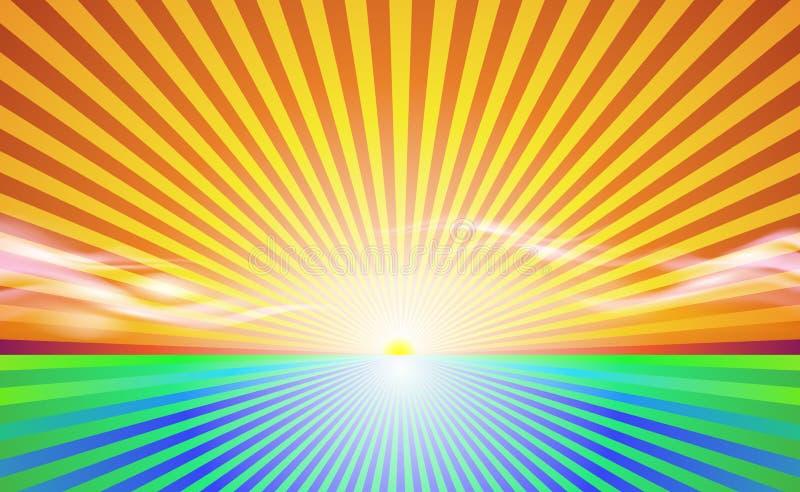 Horizontal abstrait de fond Champ ensoleillé de campagne de rayons Bannière et lever de soleil de ciel avec le beau vecteur de la illustration libre de droits