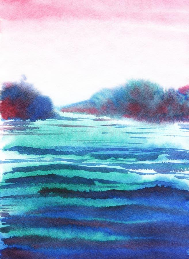 Horizontal abstrait Même le ciel rose, l'eau bleu-foncé ; Silhouette foncée des arbres Illustration tirée par la main d'aquarelle illustration stock