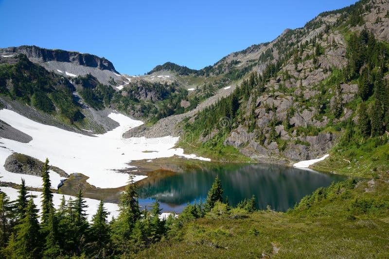 Horizontal alpin de lac et de montagne images stock