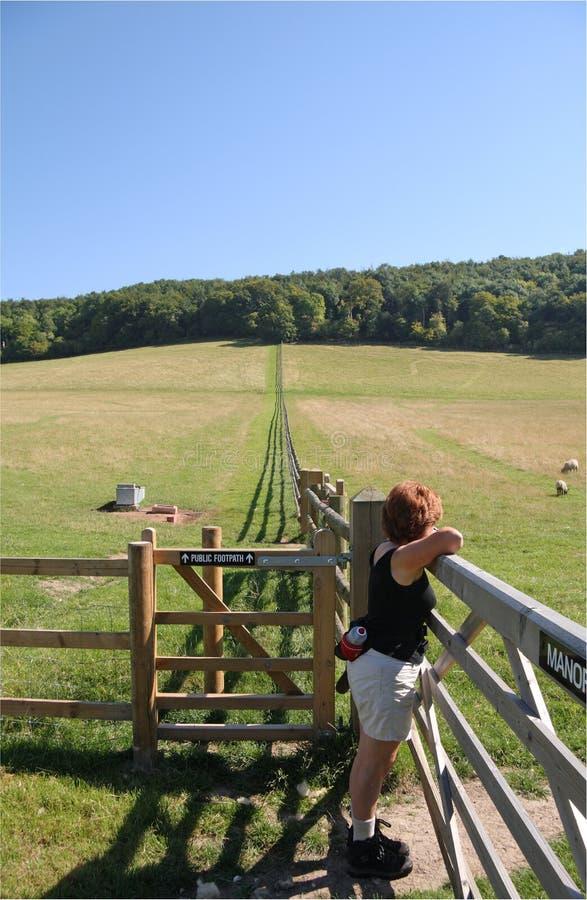 horizontal anglais de sentier piéton rural images stock