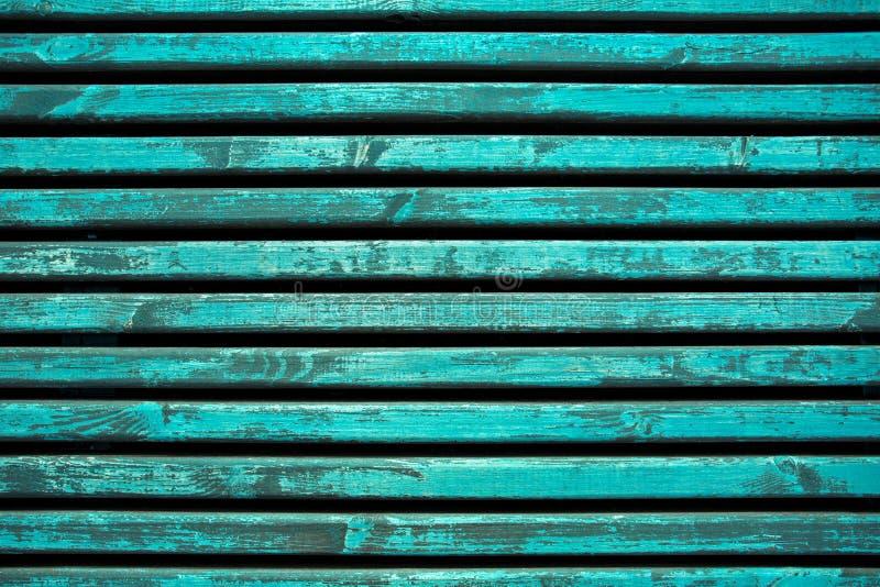 Horizontal aquamarine wooden slats. Wooden background royalty free stock photo