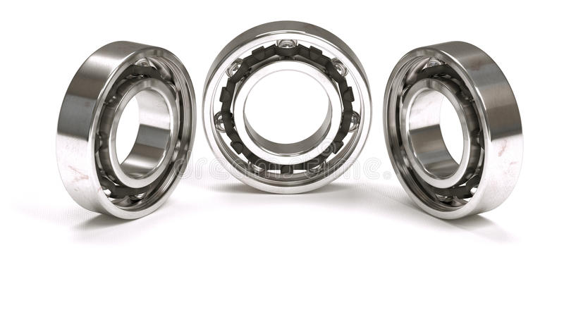 Horizontal arrangement of three ball bearings. Isolated on white background stock images