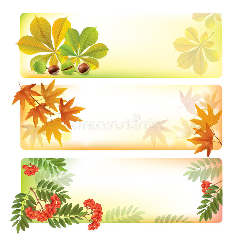 Download Horizontal autumn banners stock vector. Illustration of leaf - 34404413