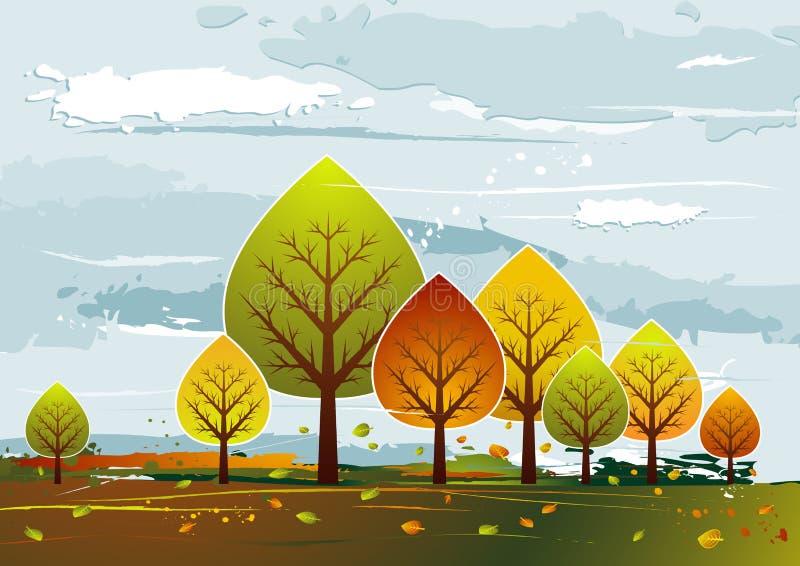 Horizontal avec des arbres, vecteur illustration stock