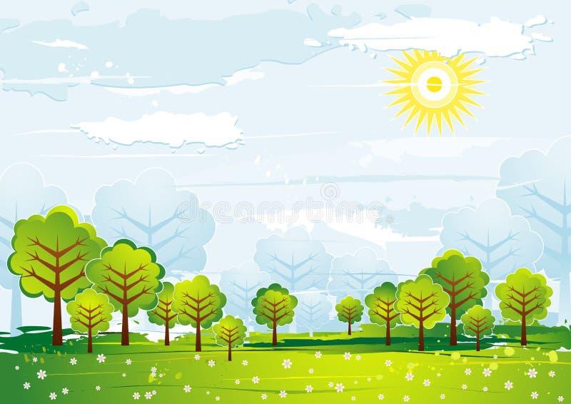 Horizontal avec des arbres, vecteur