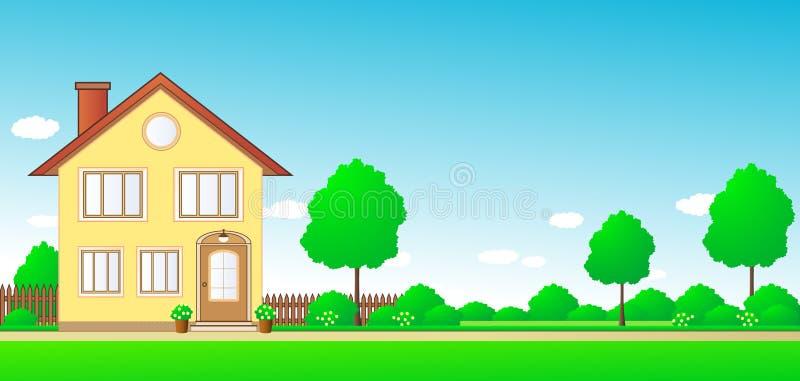Horizontal avec la maison et espace pour le texte illustration libre de droits