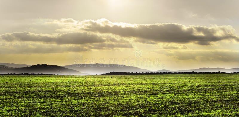 Horizontal avec la zone verte et le ciel excessif images libres de droits