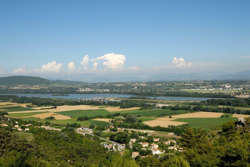 Horizontal avec le fleuve de Rhône en France image libre de droits