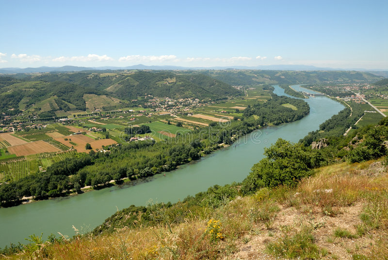Horizontal avec le fleuve de Rhône, France photographie stock
