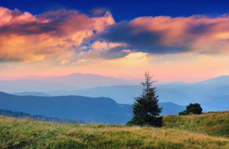 Horizontal avec une aube en montagnes photo stock