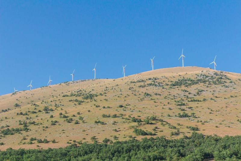 Horizontal-axis wind turbine towers station in Italy. Horizontal-axis wind turbine towers station in Abruzzo, Italy stock photos