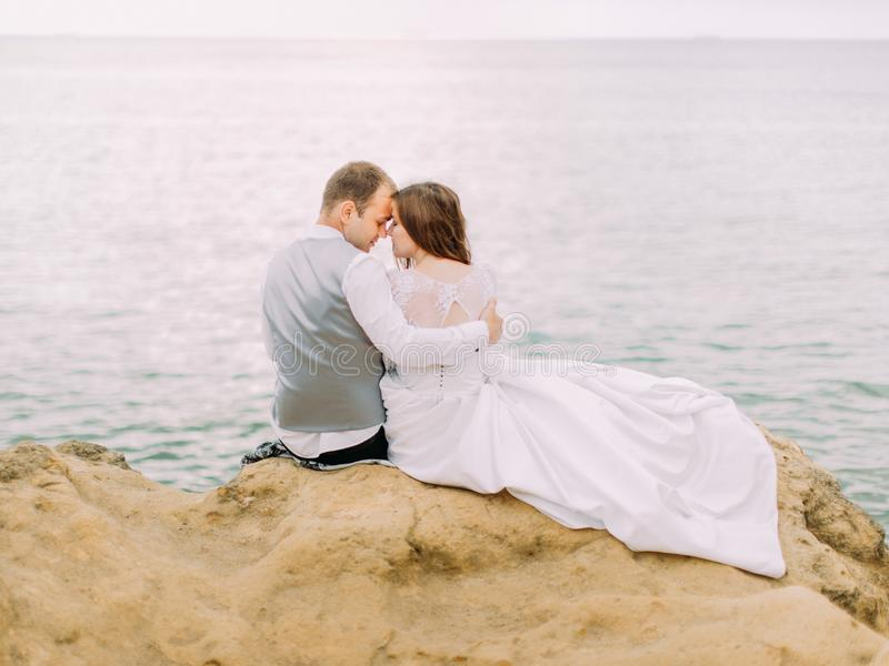 The horizontal back view of the lovely newlyweds sitting head-to-head on the cliff at the background of the sea. stock images