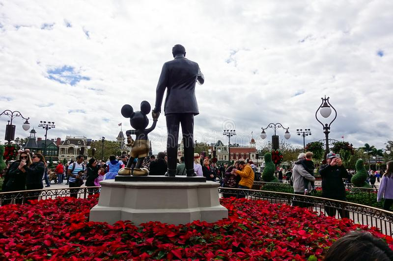 Horizontal back view of Walt Disney and Mickey Mouse Partners statue stock images