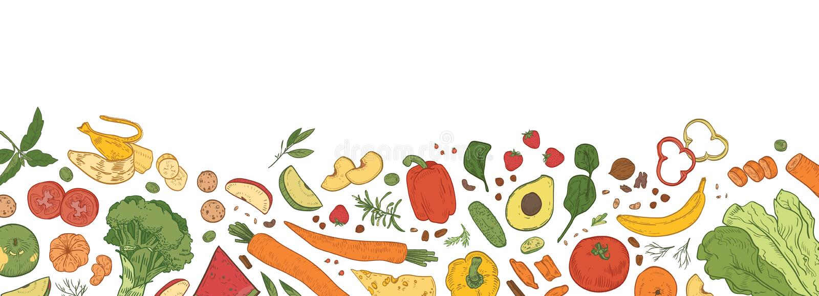 Horizontal backdrop with border consisted of fresh organic food. Banner template with tasty eco wholesome ripe vector illustration