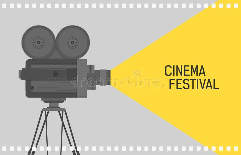 Horizontal background for cinema festival with retro camera or movie projector standing on tripod and film perforation. Border. Colorful flat vector stock illustration