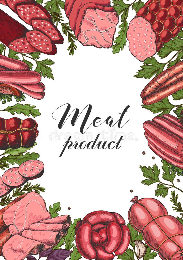 Horizontal background with different color meat products in sketch style. Sausages, ham, bacon, lard, salami stock illustration