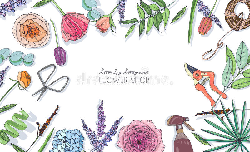 Horizontal background with flowers for advertising, floral shop, salon. Hand drawn composition with place for text. stock illustration