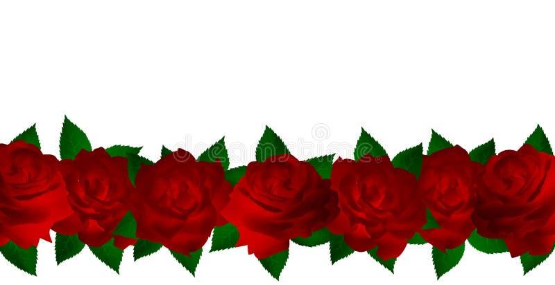 Seven red roses stock illustration