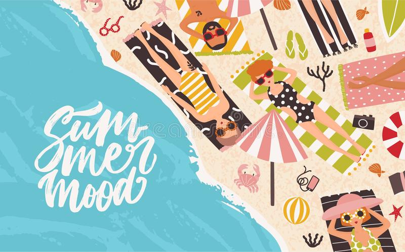Horizontal background with men and women lying on beach, relaxing and sunbathing near sea or ocean and elegant Summer stock illustration