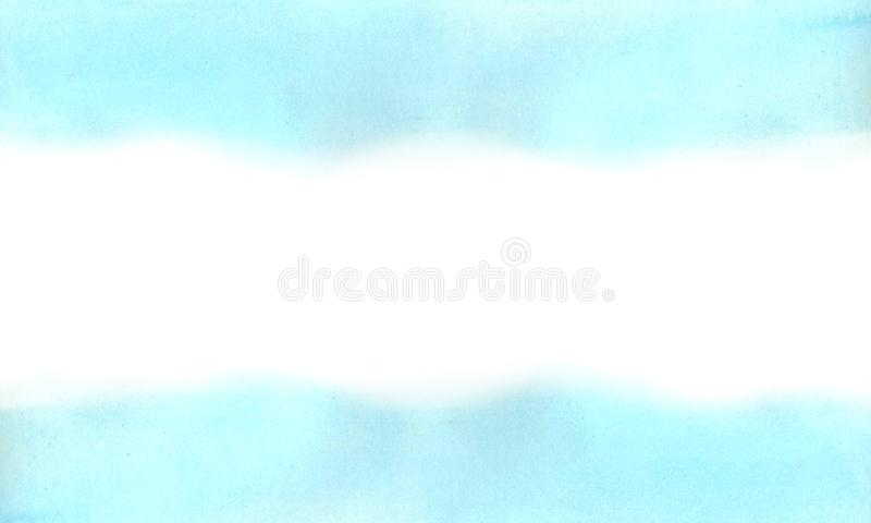 Horizontal background of watercolor absrtract blue, cyan gradient. Abstract blue, cyan watercolor gradient on white background. The color splashing in the paper royalty free stock image
