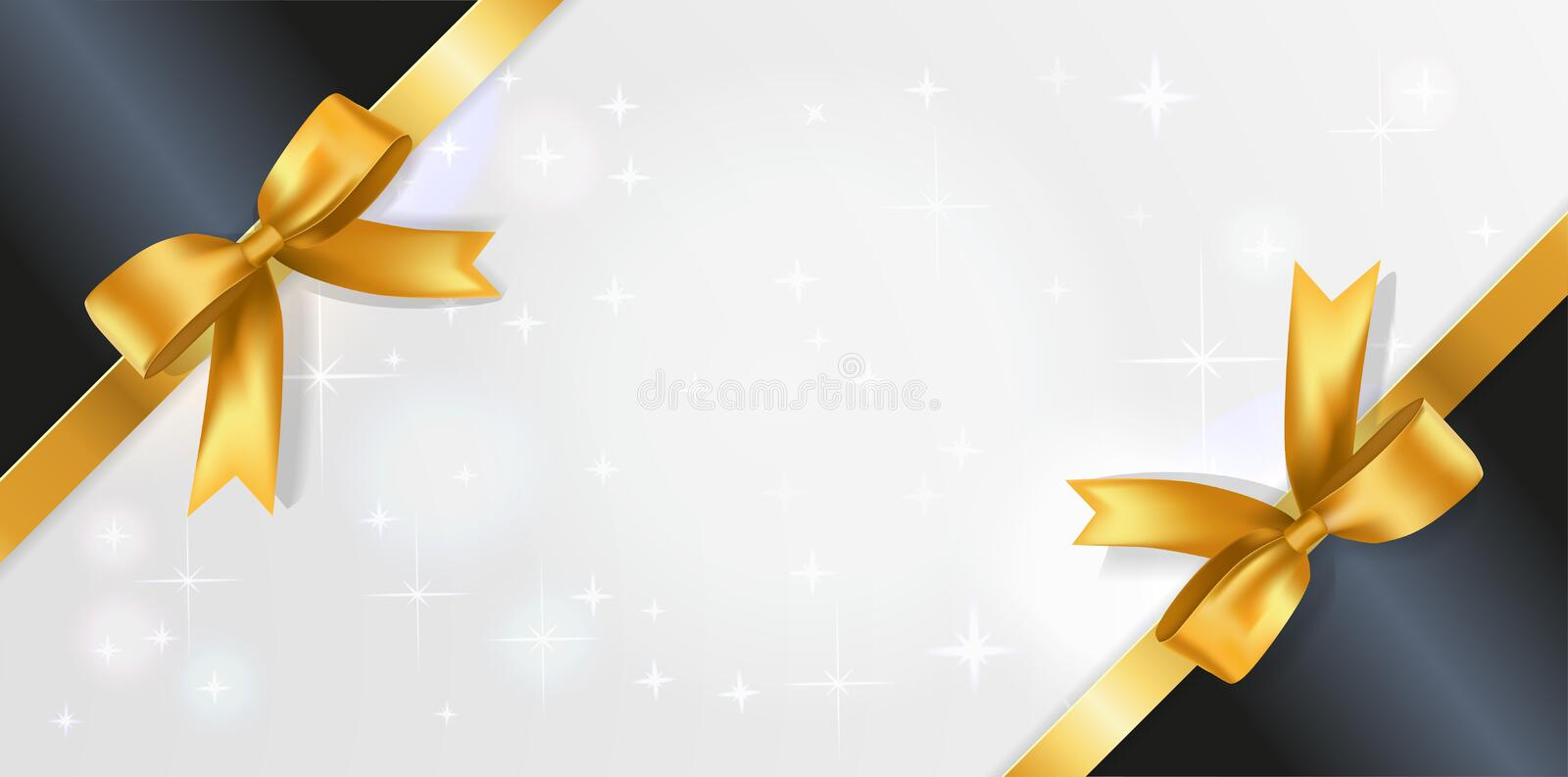 Horizontal background with white sparkling center and black corner ribbons with Bows. Banner with satin bow decoration border. vector illustration