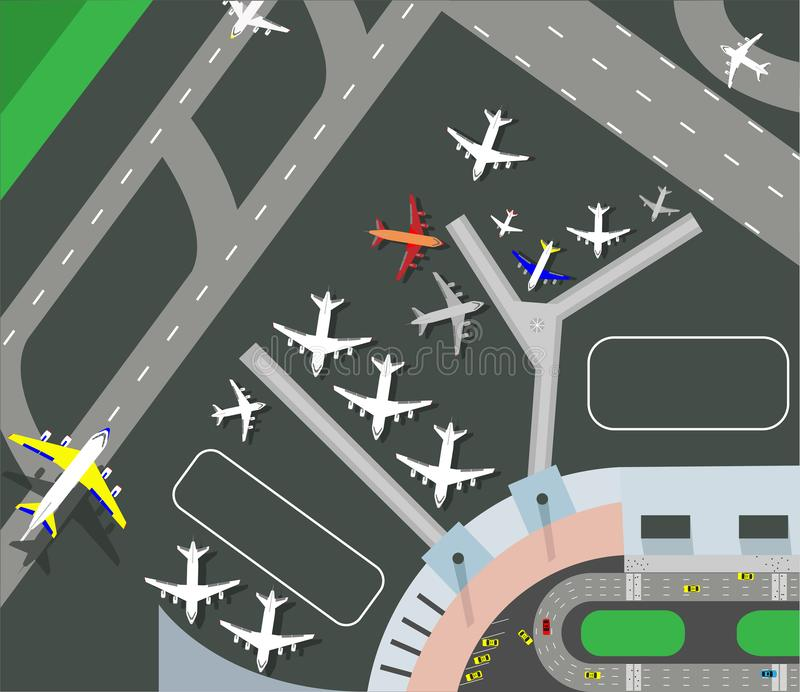 Horizontal banner with airplane taxiing and preparing for take off on runway, top view. Passenger aircraft beside airport building vector illustration