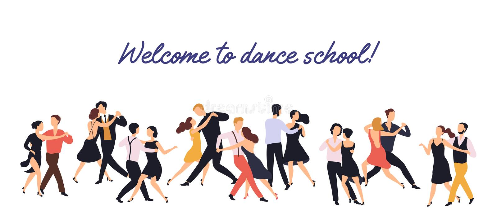 Horizontal banner or backdrop with pairs of elegant men and women dancing tango on white background. Dance school or royalty free illustration