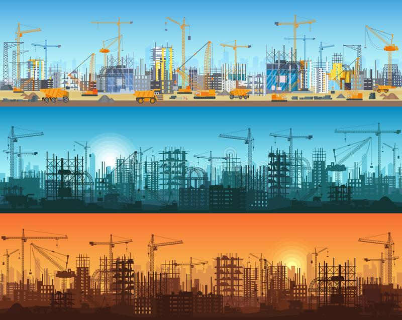 Horizontal banner of city or website construction. Tractors, grader, bulldozers, excavators and tower cranes with. Skyscraper under construction. Silhouette and vector illustration