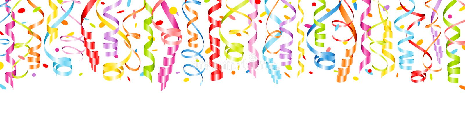 Horizontal Banner Colorful Streamers And Confetti vector illustration