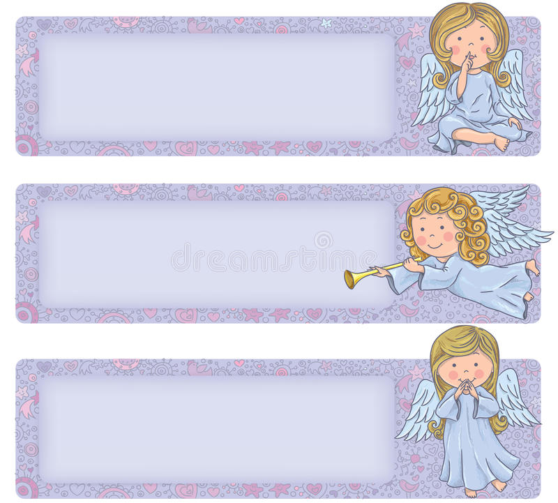 Horizontal banner with cute angels. Cute angels. Contains transparent objects. EPS10 royalty free illustration