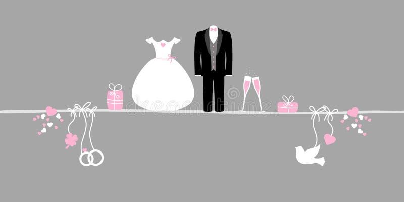 Horizontal Banner Wedding Icons Pink White Gray stock illustration