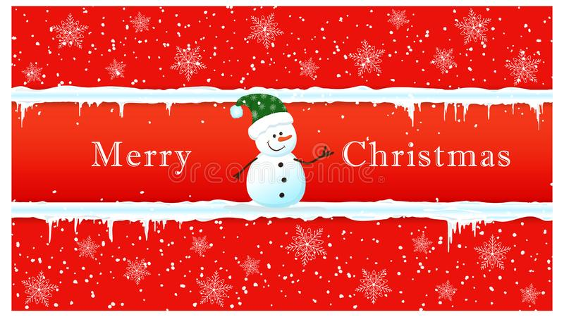 Horizontal banner with a frame of snow and icicles and a cute snowman. Merry Christmas Text. Vector royalty free stock photos