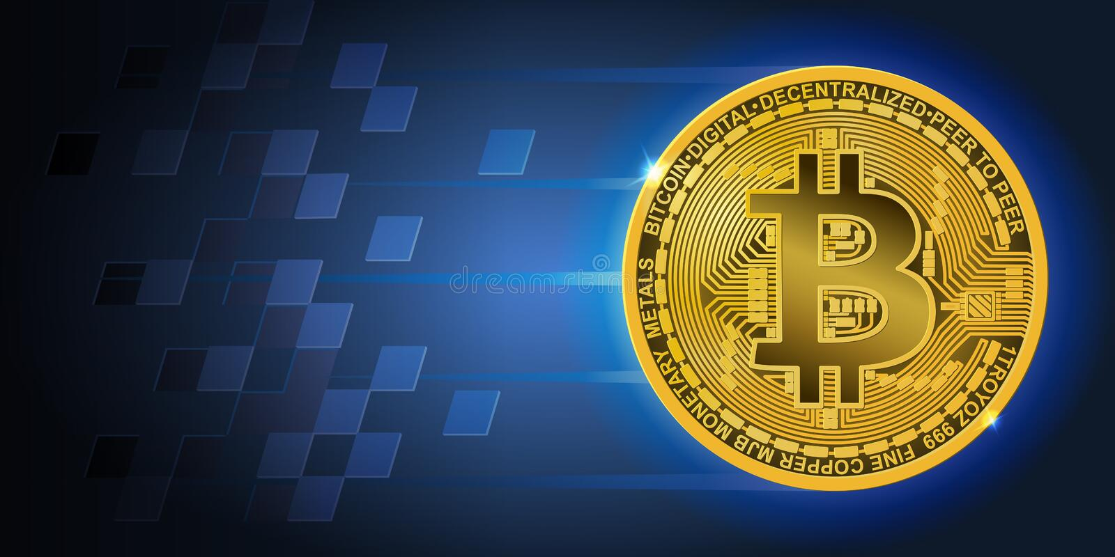 Horizontal banner with golden flying bitcoin and dark blue background stock illustration