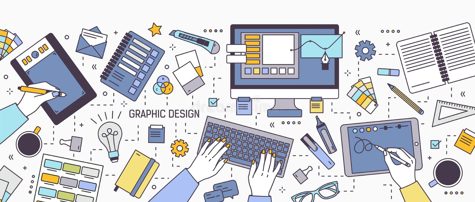 Horizontal banner with hands of designer working on computer or drawing on tablet surrounded by office supplies and art stock illustration