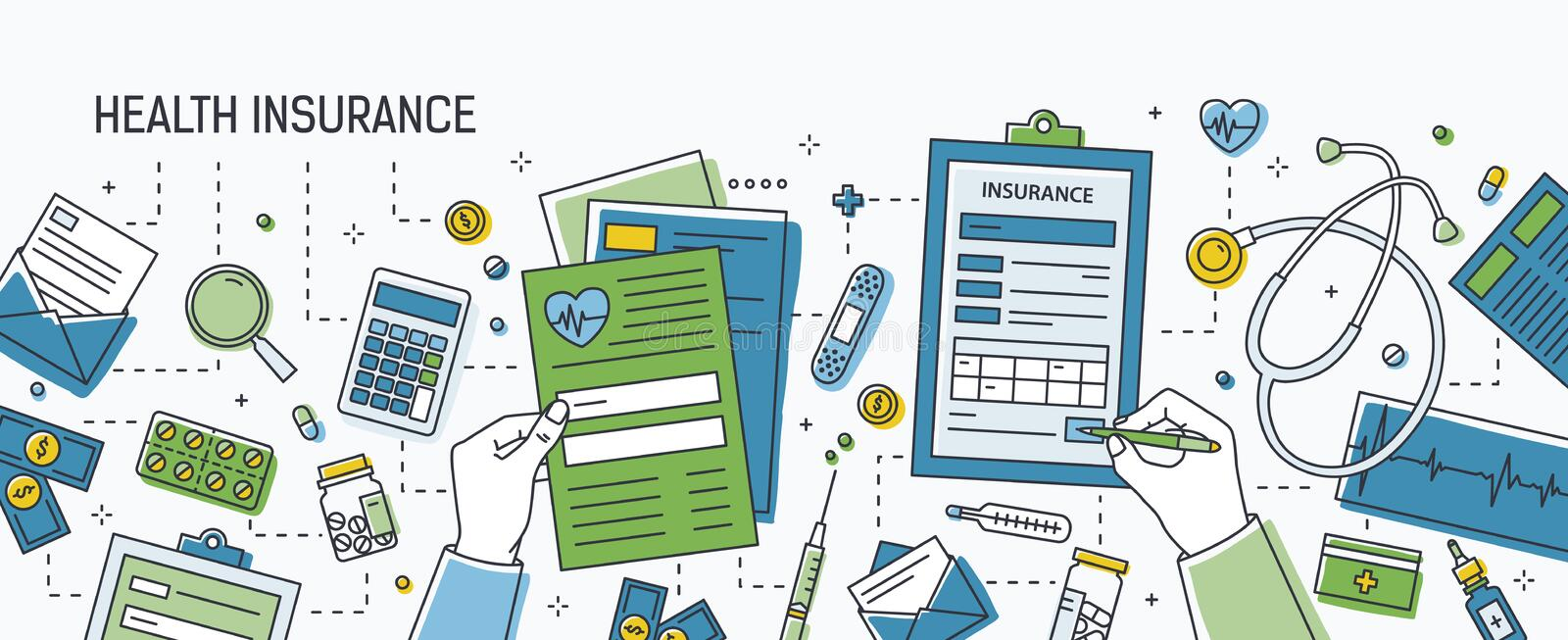 Horizontal banner with hands filling out form of health insurance surrounded by dollar banknotes and coins, pills and vector illustration