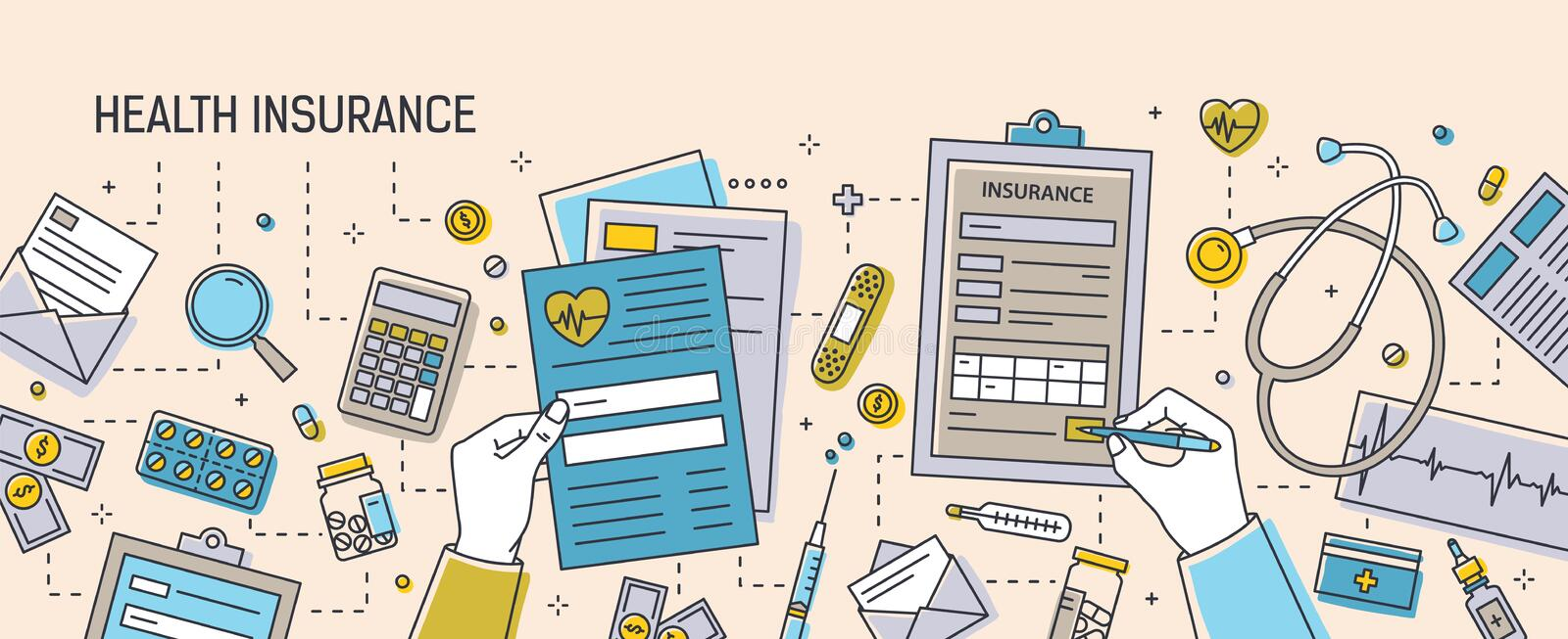 Horizontal banner with hands filling out health insurance documents surrounded by paper forms, medications, medical vector illustration