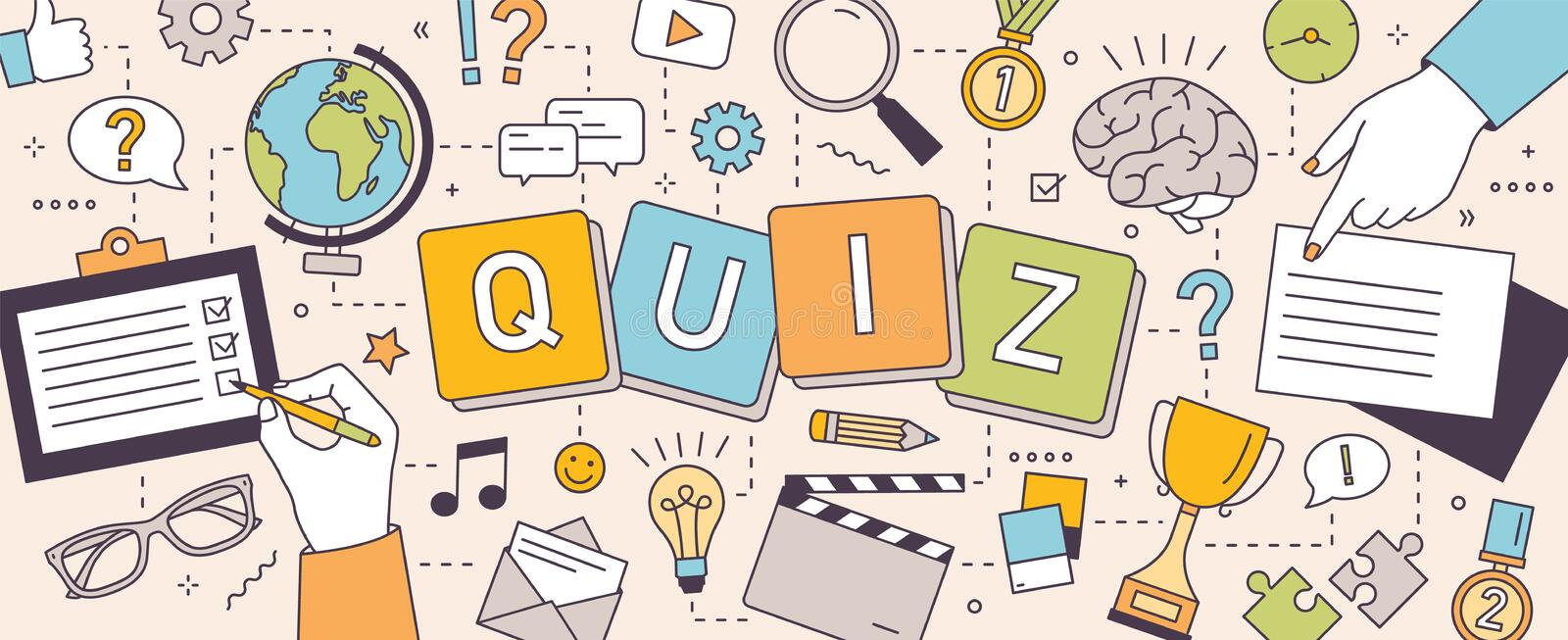 Horizontal banner with hands of people solving puzzles or brain teasers and answering quiz questions. Team intellectual. Game to test intelligence or intellect stock illustration