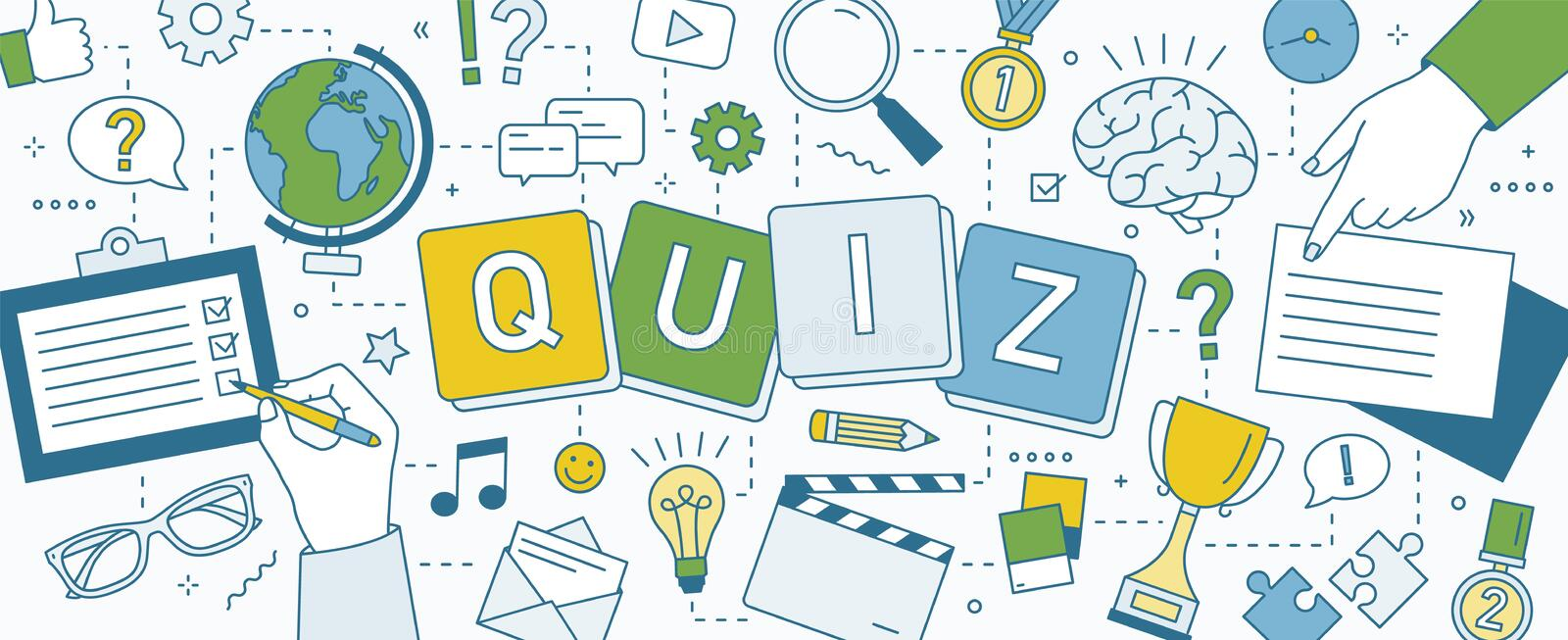 Horizontal banner with hands of people solving puzzles, playing intellectual game and answering smart quiz questions. Test of intelligence or intellect royalty free illustration