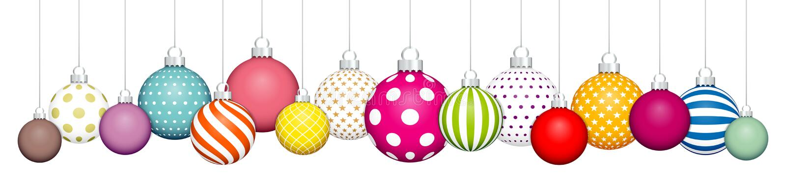 Banner Hanging Colorful Christmas Balls Pattern White Silver stock illustration