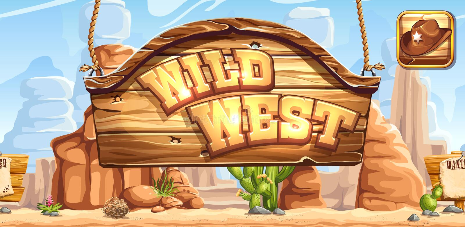 Horizontal banner and icon for the game Wild West registration in social networks royalty free illustration