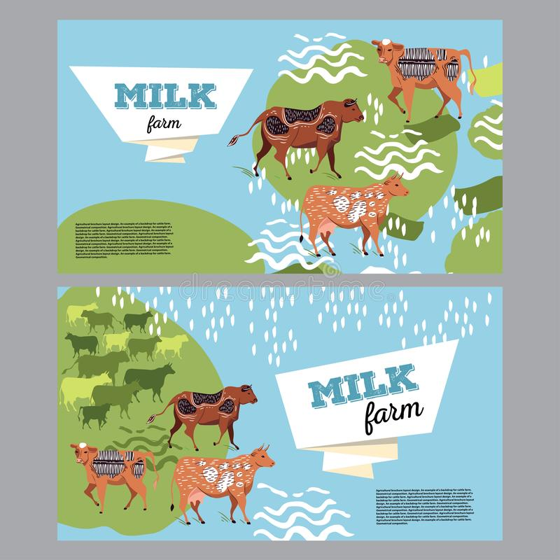 Horizontal banner with the image of cows and geometric shapes for the background of the cover. vector illustration