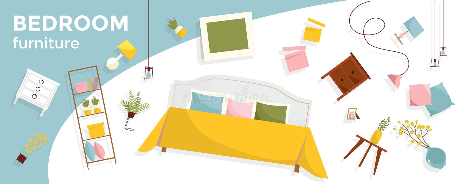 Horizontal banner with a lot of flying Bedroom furniture and text. Interior items - bed, nightstands, plants, pictures, pillows. vector illustration