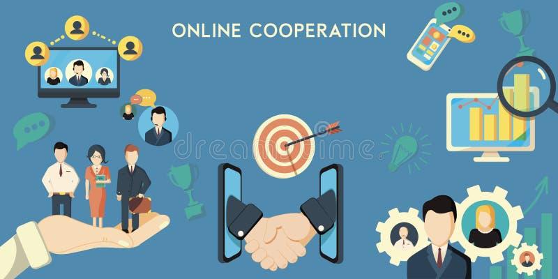 Horizontal banner of online cooperation decorative elements flat vector illustration stock illustration
