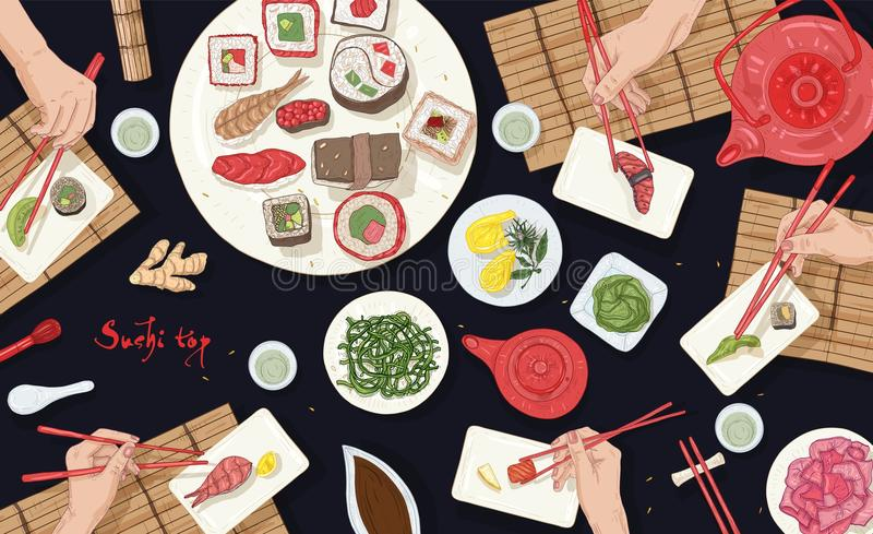 Horizontal banner with people sitting at table full of Japanese meals at Asian restaurant and eating sushi, sashimi and vector illustration