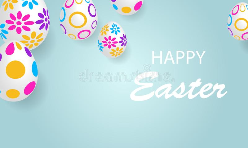 Horizontal banner poster with easter eggs on blue background royalty free illustration