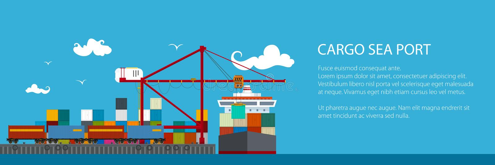 Horizontal Banner of Shipyard. Cranes Load Containers on the Container Ship and Train at the Seaport, Sea Freight Transportation, Poster Brochure Flyer Design royalty free illustration