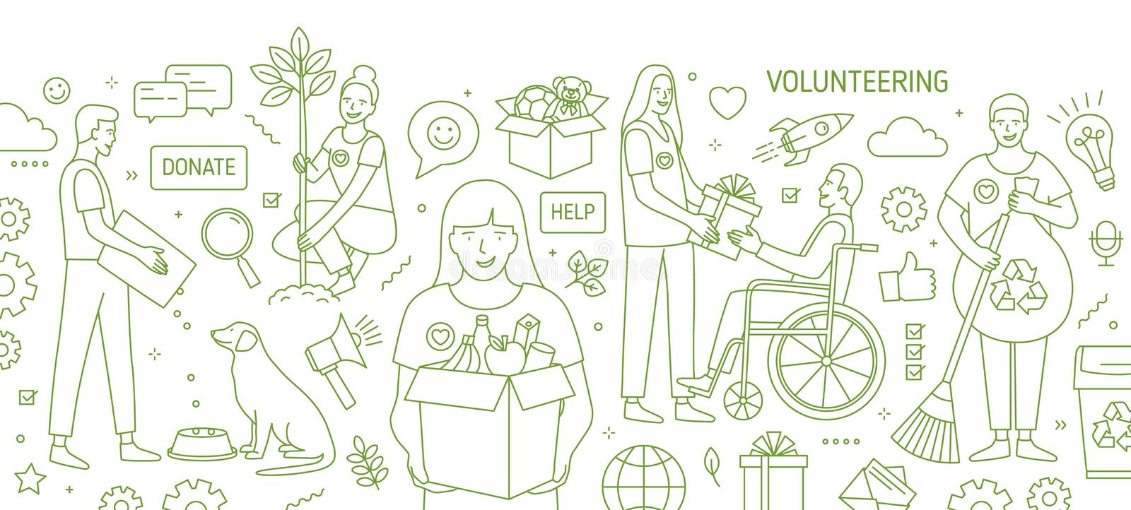 Horizontal banner with smiling young men and women volunteering or doing volunteer work drawn with green contour lines vector illustration
