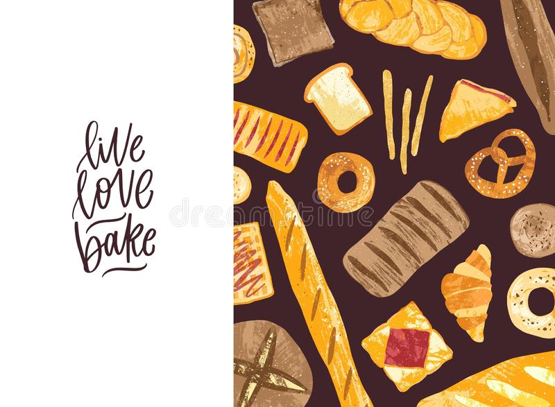 Horizontal banner with tasty fresh breads, homemade baked products and sweet pastry of different types and Live Love. Bake motivational slogan. Vector royalty free illustration