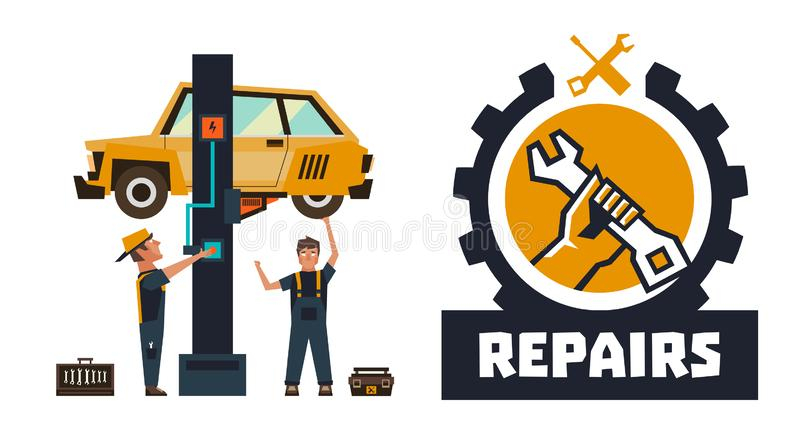 Horizontal banner template on car repairs. Repair logo, hand holding a wrench. The car on a lift. Auto mechanic inspects vector illustration
